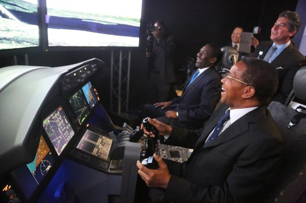 President Jakaya Mrisho Kikwete and his delegation visit the Boeing planes manufacturing plant  in Seattle on April 2, 2015