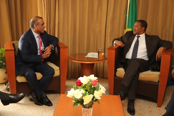 President Dr Jakaya Mrisho Kikwete meets and holds bilateral talks with the CEO of Bharti Airtel Mr Sunil Mittal in the sidelines of the World Economic Forum on Africa today May 7, 2014